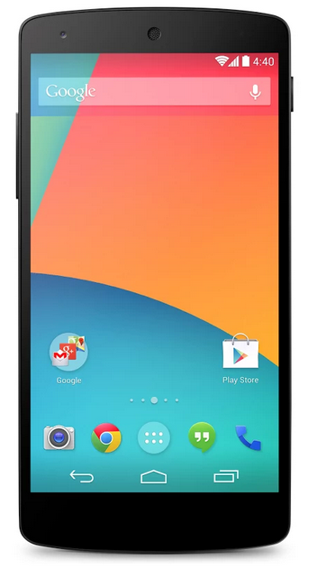 Google Nexus 5 Android Smartphone at Google Play Store- front view