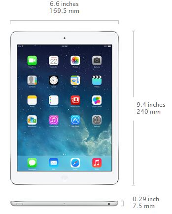 New Apple  iPad Air - The Power of Lightness- measurements