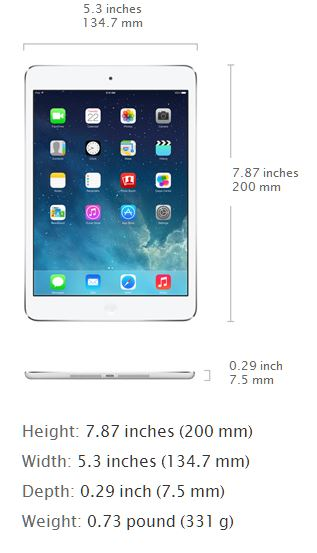 New Apple iPad Mini With Retina Display - Analie Cruz - Measurements