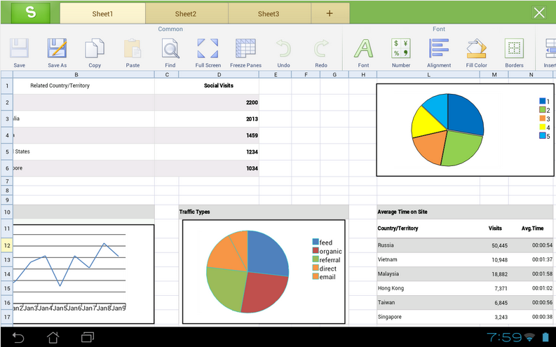 Kingsoft Office App on Android Google play Store - excel screenshot