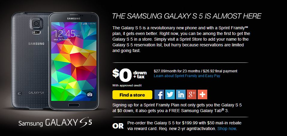 Sprint Samsung Galaxy S 5 Website - Tech We Like