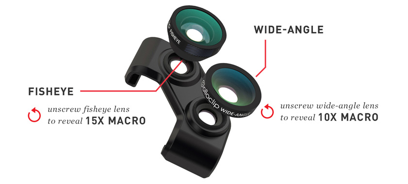 Olloclip 4-in-1 photo lens for samsung galaxy s5 and galaxy s4 - lenses details and specs